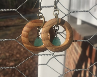 Wood and Green Aventurine Earrings