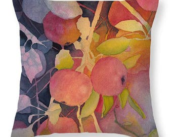 Mother's Day Gift Idea Autumn Apples Watercolor Decorative Pillow
