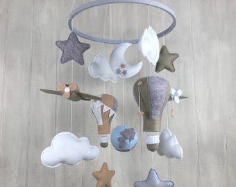 Baby mobile - childrens room decor - airplane mobile - hot air balloon mobile - globe - travel nursery theme - gender neutral