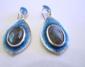 Silver Earrings with Labradorite and Glittering Enamel; Silver Earrings; Labradorite Earrings