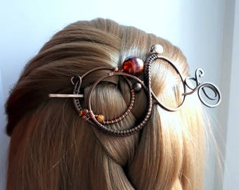Infinity Hair Barrette Hair Slide - Shawl Pin Copper Hair Slide Wire Bun  Pin Wire Wrapped Scarf Sweater Pin -  Orange infinity pin Large