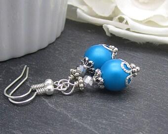 Malibu Pearl Earrings, Malibu Blue Bridesmaid Jewellery, Blue Pearl Drops, Simple Bridal Earrings, Blue Bridesmaid Sets, Bridal Party Gifts