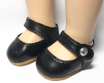"Black Leather mary jane shoes for 13"" Sasha Toddler dolls"