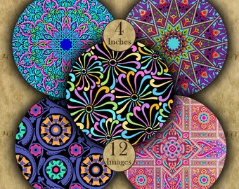 4 inch BRIGHT DESIGNS Digital Printable Circles collage sheets for Coasters & Crafts