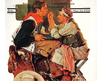 Gary Cooper - Norman Rockwell - Saturday Evening Post Cover - 1989 Vintage Book Page - 10 x 12