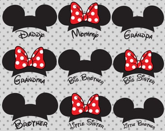 Disney family svg, Mouse Ears svg, Minnie Bow svg, Little Sister, Big Brother, Mommy, Grandma, Grandpa, Daddy, Mickey SVG, Minnie svg
