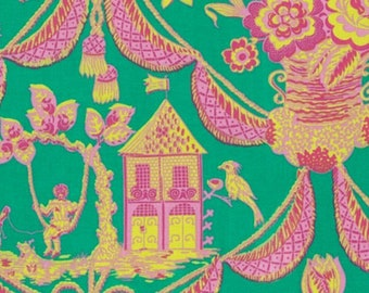 Fabric by the Yard -- Sunny Isle Kat in Green by Jennifer Paganelli