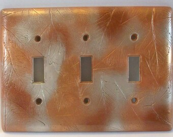 ON SALE was 26.85: Copper Bronze Silver leaves triple toggle light switch cover