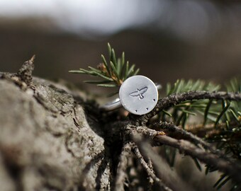 Soaring Hawk Ring   Sterling Silver Ring   Silver Ring   Nature Ring  Bohemian Ring   Stamped Ring   Rustic Ring   Everyday Ring  