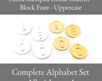 COMPLETE SET - Silver or Gold -  Alphabet Hand Stamped Initial Charms / Block Font - Initial Disc - Jewelry Findings - DIY Charms