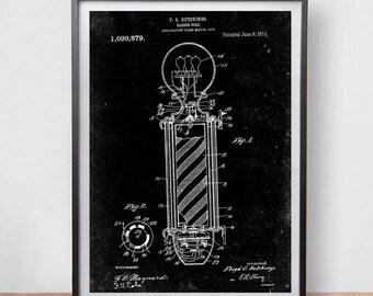 Barber Pole F.O Patent Poster Game Room Vintage Art Retro Print Home Wall Decor
