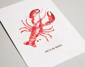 Anniversary Card - friends tv show, you're my lobster, illustration, valentines card, lobster, friends lobster, friends,funny valentine card