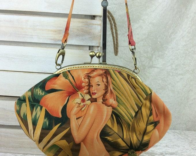 Burlesque Ladies purse bag frame handbag fabric clutch shoulder bag frame purse kiss clasp bag Handmade Alexander Henry Pin Up Mirage