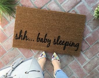 New Baby Doormat / Baby Shower Doormat / Funny Doormat / Baby Sleeping Doormat / Newlywed Doormat / Funny Welcome Mat / Disney Doormat