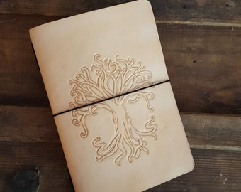 Leather Journal - Hand Tooled - Tree of Life