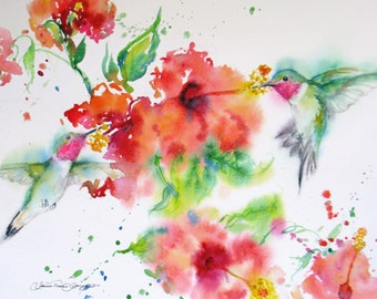 hummingbird watercolor art print,bird art,hummingbird painting print,original abstract bird,hibiscus art,wall decor, flower print,home decor