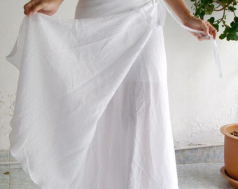 Cotton Wrap Skirt Sarong Tie Summer Sun Floaty Beach  White