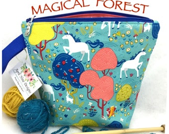Magical Unicorns Knitting Bag, Knitting Project Bag, Crochet Bag, Small Project Bag