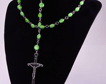 Rosary, Green Fiber Optic Cats Eye Beads, Acrylic, Religious, Spiritual, Silver Tone Metal, Catholic, Prayer, Necklace