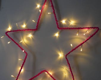 Star bright neon pink wool - wall decor
