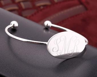 Personalized Monogram Oval Cuff Bangle