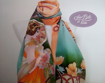 """Scarf shawl handpainted on multicolor silk scarf """"art nouveau"""" pattern, orange and green scarf"""