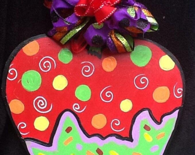 Apple door hanger, apple sign, candy apple sign, fall sign, fall door hanger, fall door sign, halloween sign, halloween door sign,