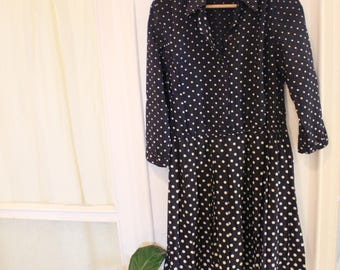 naby and White Vintage long sleeves Polka Dot drop waist button down collar dress