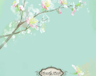 2ft x 2ft PRODUCT size Vinyl Photography Backdrop / Watercolor Tree / Lilypad