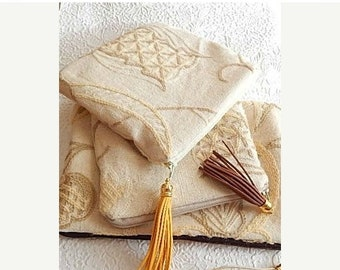 CLEARANCE - Pale yellow upholstery pouch, crewel purse for makeup, embroidered zipped clutch for small items,