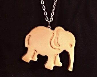 Animal Cracker Necklace - Faux Elephant Polymer Clay Cookie Charm - Cute Fake Food Pendant -Kawaii Jewelry