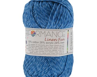 10 x 50g knitted yarn linen fun #100 Blue