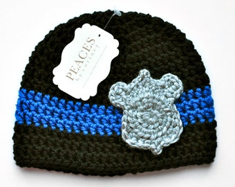 Newborn Police Hat -  Black and Blue Stripe Police Baby Hat with Silver Badge