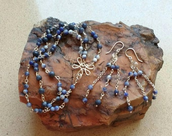 Blue jewelry set- handmade, Blue stones - Blue bracelet - Blue earrings, Sodalight  jewelry - gift for woman - ready-to-ship.