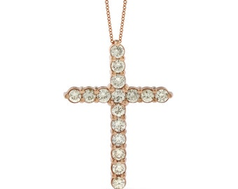 1.99 Ct. Natural Large Diamond Cross Pendant Necklace In Solid 14k Rose Gold