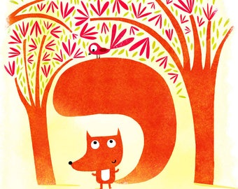 The Fox and bird A134 poster