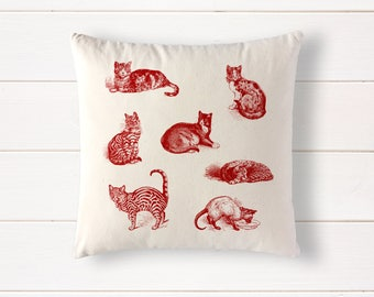 "Cats in French Red pillow, 100% natural cotton throw cushion, cat decor, cat gift, 15""x15"", red and white"
