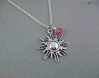 Tangled Sun Charm Necklace - Rapunzel - Silver Charm