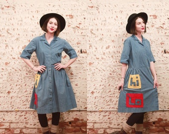 Vintage 1950s 60s Vancé large XL volup denim Hi Lo button up pocket dress / shirtdress / teacher