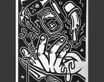 Recuerdos/Memories - Witch Hand, Limited Edition of 13, Linocut, Size - 5 x 7 inches, Ready to Ship