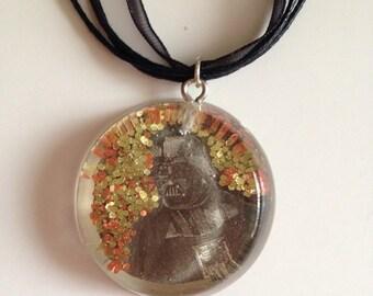 Darth Vader Glitter Necklace- Newspaper Scrap in Resin Pendant