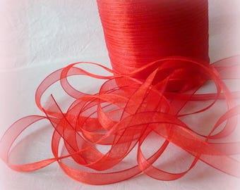 5 m Organza Ribbon soft red