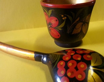 Russian Khokhloma Cup and Serving Spoon
