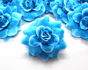 12 Blue Diamond mini Roses Heads - Artificial Silk Flower - 1.75 inches - Wholesale Lot - for Wedding Work, Make Hair clips, headbands
