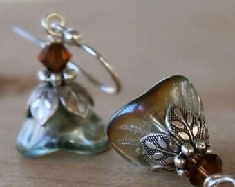 Dangle Earrings, Flower, Dangle, Petite, Aqua, Gift For Her, Gift Ideas, Gift For Girlfriend
