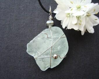 """Bonfire Sea Glass Pendant-Genuine sea glass bonfire-22 """"genuine Leather Cord-Wire wraped-Rare Seafoam Sea Glass-Handmade in Italy"""