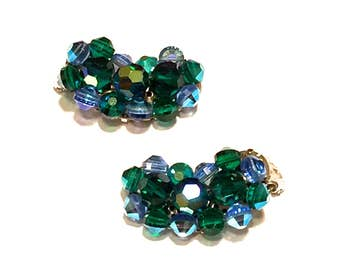 Blue Green Crystal Bead Earrings, Multi Color, Aurora Borealis, Ear Climbers, Mid Century, Clip On, Silver Tone, 1950s, Vintage Gift For Her