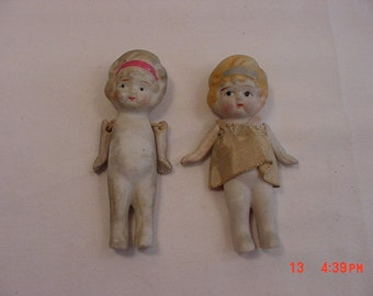 2 Vintage Japan Bisque Frozen Charlotte Dolls  18 - 872