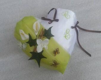 Cushion wedding heart lime green arum, Ivy, butterflies, nature decor