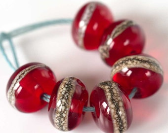 Bright Red Glass Beads Set of 6 Handmade Lampwork Spacer Beads  MTO